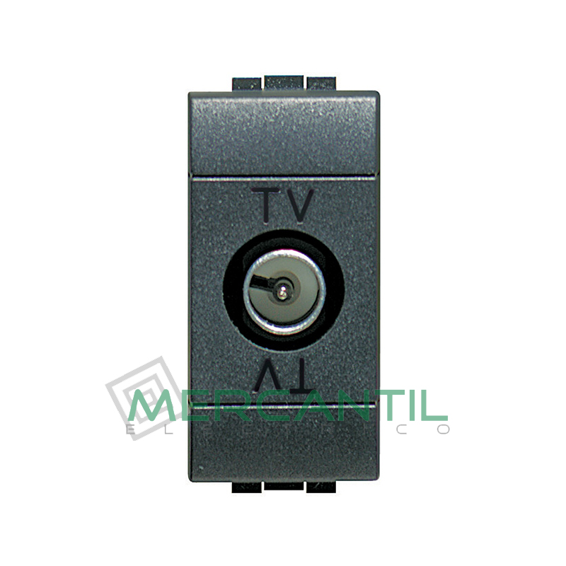 Base Unica TV - SAT 1 Modulo Living Light BTICINO - Con Paso de Corriente Antracita