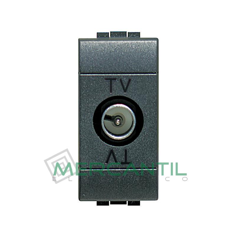 Base Unica TV - SAT 1 Modulo Living Light BTICINO - Sin Paso de Corriente Antracita