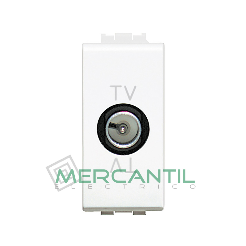 Base Unica TV - SAT 1 Modulo Living Light BTICINO - Con Paso de Corriente Blanco