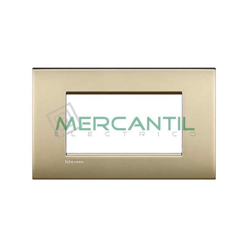 Marco Cuadrado Rectangular Living Light Air BTICINO - Color Oro Satinado Air 4 Modulos Cuadrada Rectangular Oro Satinado Air