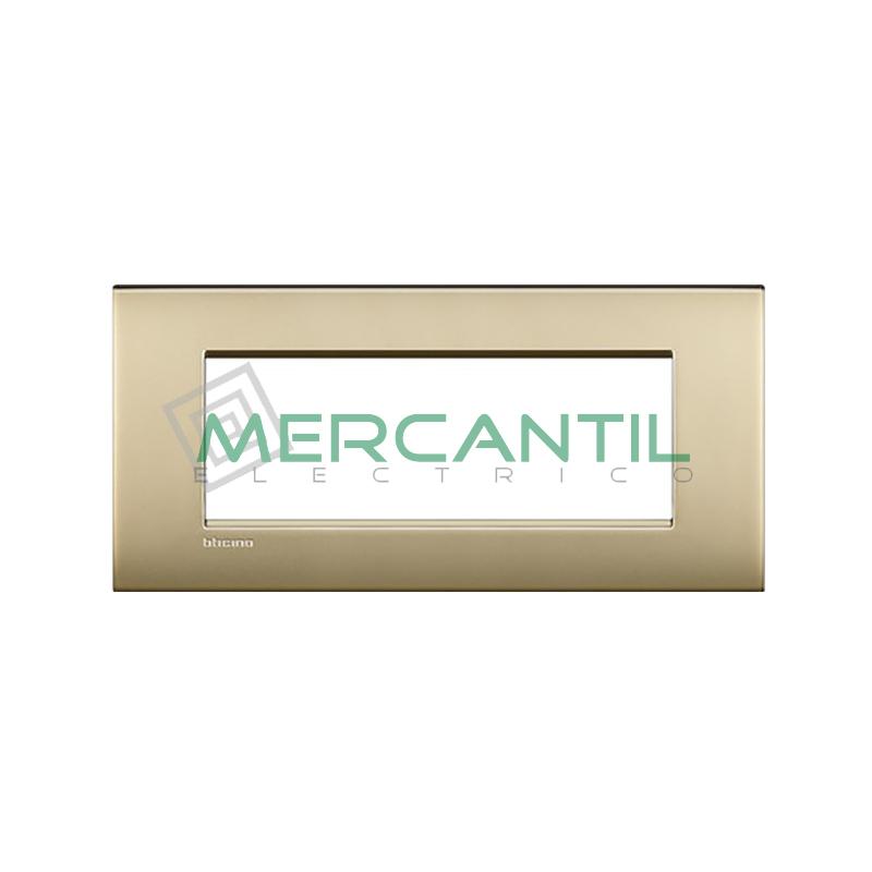 Marco Cuadrado Rectangular Living Light Air BTICINO - Color Oro Satinado Air 7 Modulos Cuadrada Rectangular Oro Satinado Air