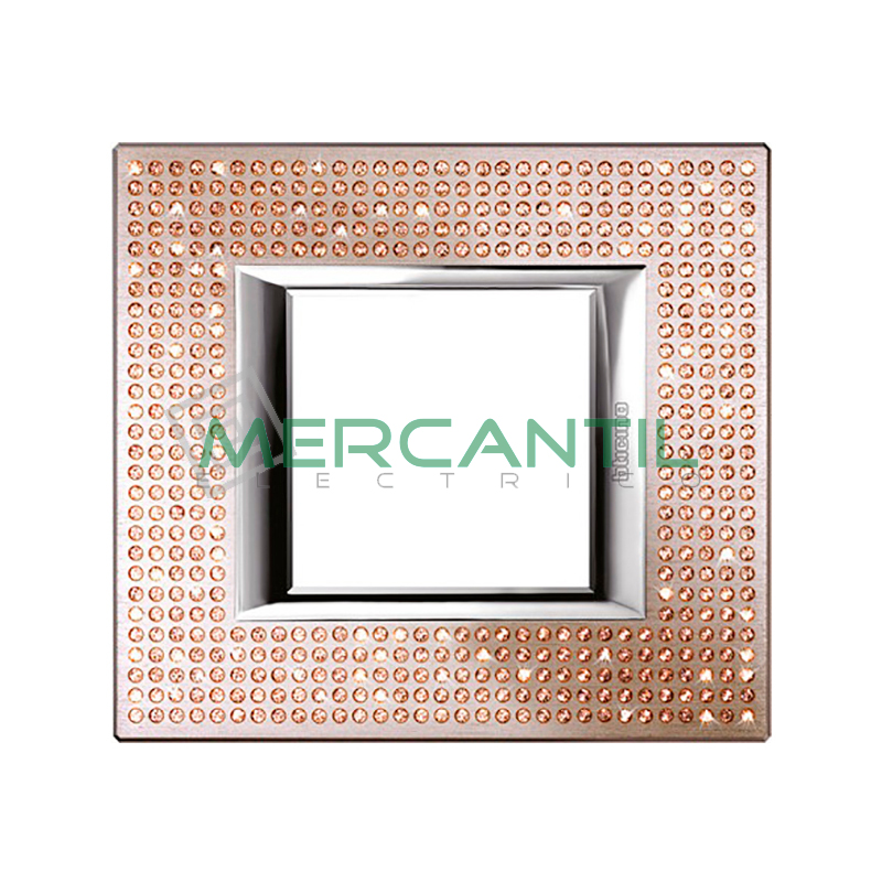 Marco Rectilineo Rectangular Axolute BTICINO - Color Swarovski Light Peach 2 Módulos Rectilineo Rectangular Light Peach Swarovski