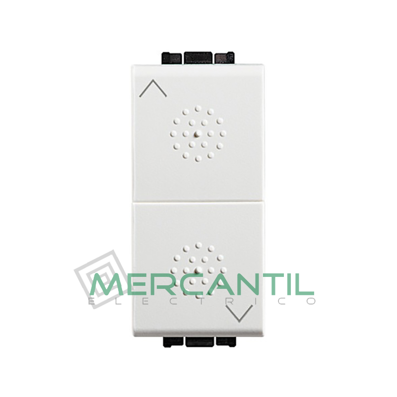 Pulsador Doble con Bloqueo Mecanico 1 Modulo Living Light BTICINO Blanco