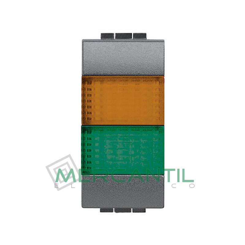 Portalamparas con Difusor 1 Modulo Living Light BTICINO - Color Naranja-Verde Antracita