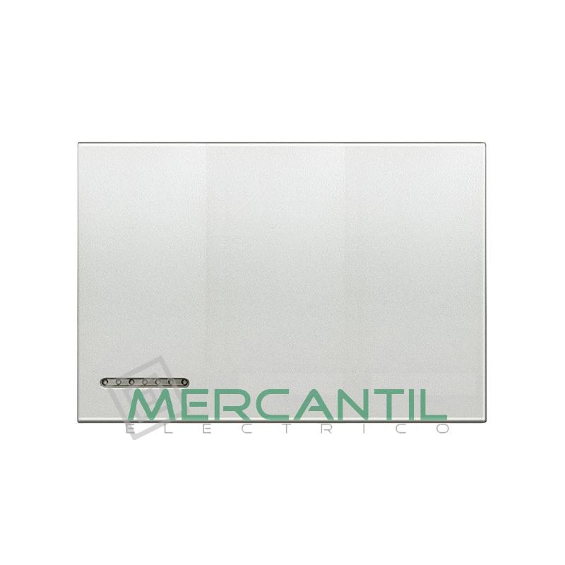 Tecla Basculante Metalica Iluminable 3 Modulos Living Light BTICINO - Placas Cuadradas Plata