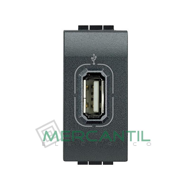 Base USB con Tension 1 Modulo Living Light BTICINO Antracita