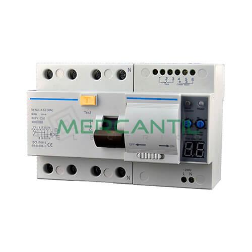 Interruptor Diferencial Rearmable RE-NL1 4P (Calibre 63A, Sensibilidad 30mA) CHINT Ref: RE-NL1-4-63-30A