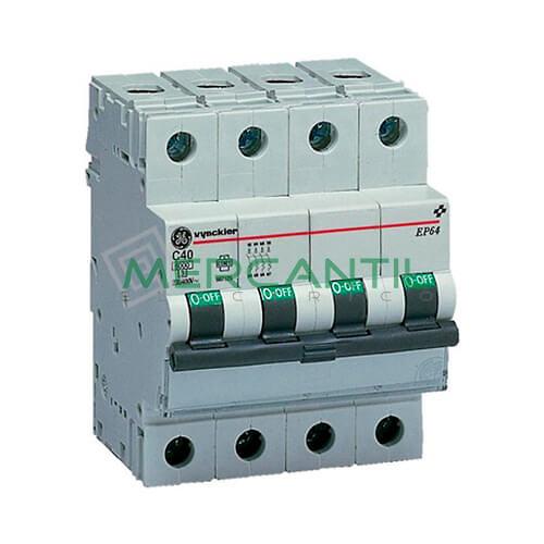 Interruptor Automático Magnetotérmico 4P 10A Serie EP60 Sector Residencial-Terciario GENERAL ELECTRIC Ref: 674028