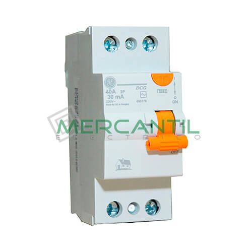 Interruptor Diferencial 2P (25A, 30mA) Serie DMS Sector Residencial GENERAL ELECTRIC Ref: 690776