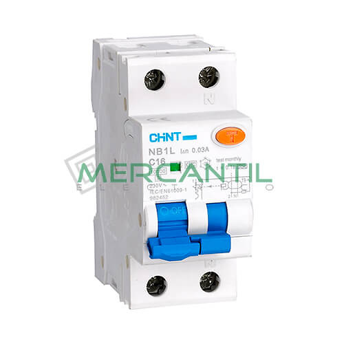 Interruptor Diferencial Combinado NB1L 1P+N (6A, Poder de Corte: 6kA, Sensibilidad: 30mA) CHINT Ref: NB1L-1N-6C30A-2