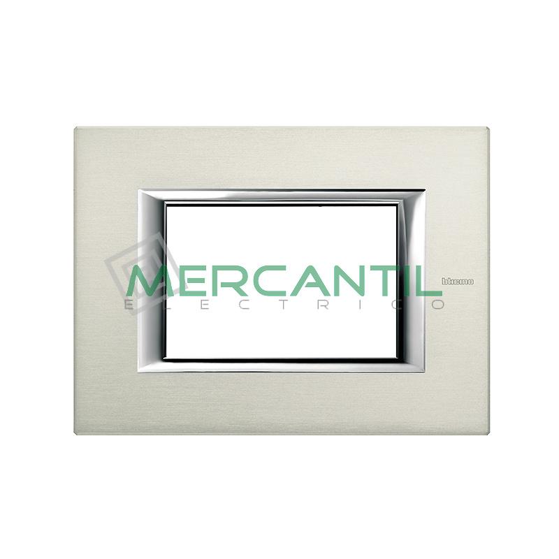 Marco Rectilineo Rectangular Axolute BTICINO - Color Aluminio Pulido