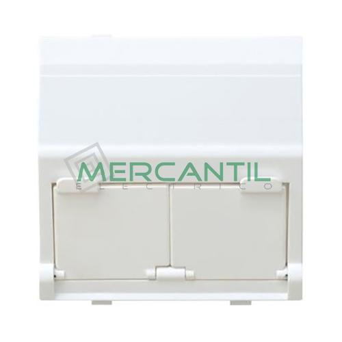 Adaptador Informatico Inclinado AMP/SYSTIMAX UTP/FTP/Telefono SIMON 27 Play - 2 Conectores Blanco Nieve