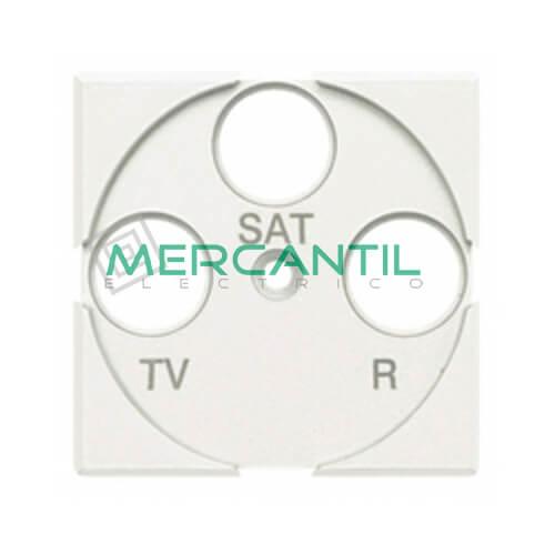 Tapa Adaptador con Serigrafia TV-R-SAT 2 Modulos Axolute BTICINO Blanco
