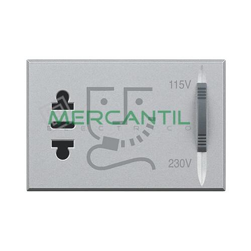 Base de Enchufe con Seguridad para Afeitadora 3 Modulos Axolute BTICINO Tech