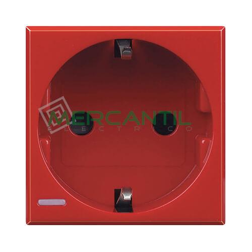 Base de Enchufe Schuko 2P+T Lateral 2 Modulos Axolute BTICINO Rojo