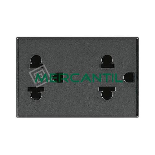 Base de Enchufe 2x2P+T Euro-Americano 3 Modulos Axolute BTICINO Antracita