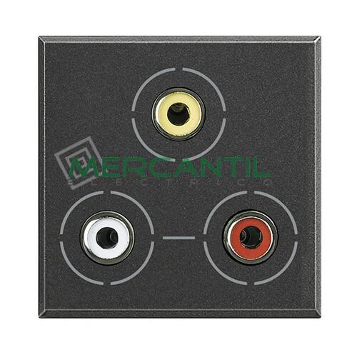 Base 3xRCA 2 Modulos Axolute BTICINO Antracita