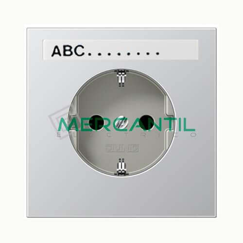 Base de Enchufe Bipolar Schuko con Toma Tierra y Regleta Inscripcion LS990 JUNG Aluminio