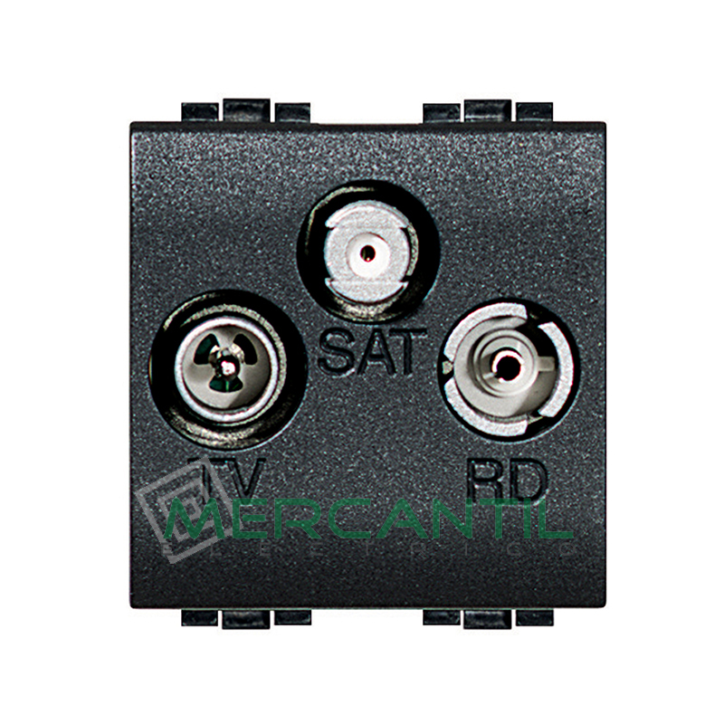 Base TV - R - SAT 2 Modulos Living Light BTICINO Antracita