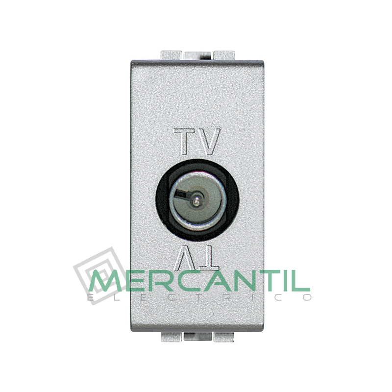 Base Unica TV - SAT 1 Modulo Living Light BTICINO - Con Paso de Corriente Tech
