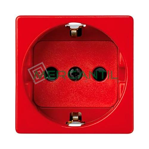 Bipolar Schuko con Toma de Tierra Lateral y Dispositivo de Seguridad 16A 250V SIMON 27 Play - Embornamiento Rapido Rojo