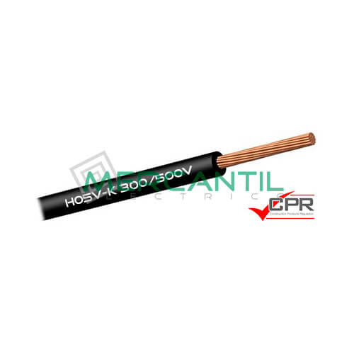 Cable Flexible de PVC 0.75mm 300/500V H05V-K CPR - 200 Metros 0.75 H05V-K Negro 200