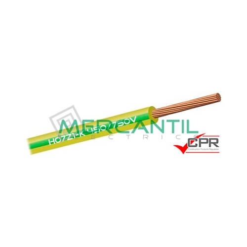 Cable Flexible Libre de Halogenos 6mm 450/750V H07Z1-K CPR - 100 Metros 6 H07Z1-K Amarillo/Verde 100