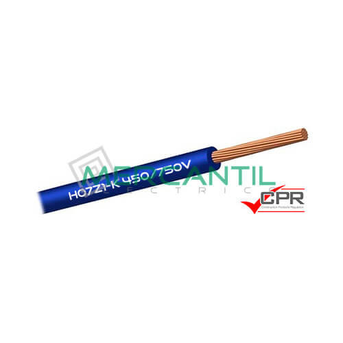 Cable Flexible Libre de Halogenos 6mm 450/750V H07Z1-K CPR - 100 Metros 6 H07Z1-K Azul 100