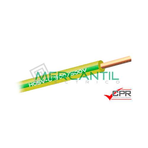 Cable Rigido de PVC 1mm 300/500V H05V-U CPR - 200 Metros 1 H05V-U Amarillo/Verde 200