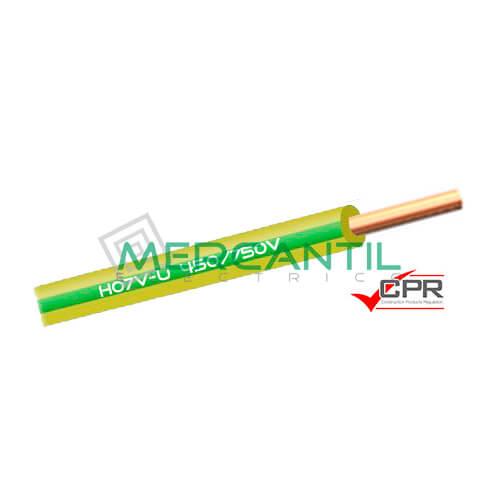 Cable Rigido de PVC 1.5mm 450/750V H07V-U CPR - 200 Metros 1.5 H07V-U Amarillo/Verde 200