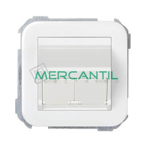 Adaptador Inclinado Informatico AMP/SYSTIMAX para UTP/FTP/Telefono 2 Conectores SIMON 31 Blanco Nieve