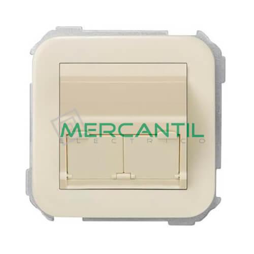Adaptador Inclinado Informatico AMP/SYSTIMAX para UTP/FTP/Telefono 2 Conectores SIMON 31 Marfil