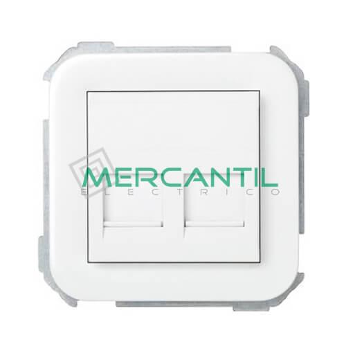 Adaptador Informatico AMP UTP/FTP/Telefono 2 Conectores SIMON 31 Blanco Nieve