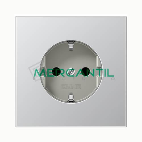 Base de Enchufe Bipolar Schuko con Toma Tierra LS990 JUNG Aluminio