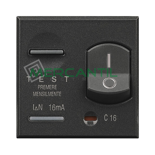 Interruptor Diferencial 10A 3kA 2 Modulos Axolute BTICINO 10A Antracita