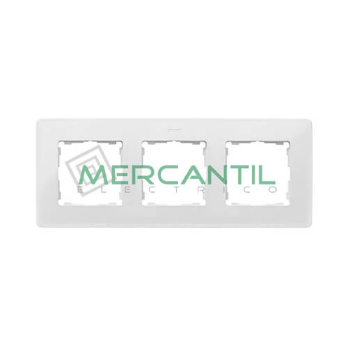 Marco Embellecedor SIMON 82 Detail Premium - Color Blanco/Aluminio 3 Elementos Blanco Aluminio