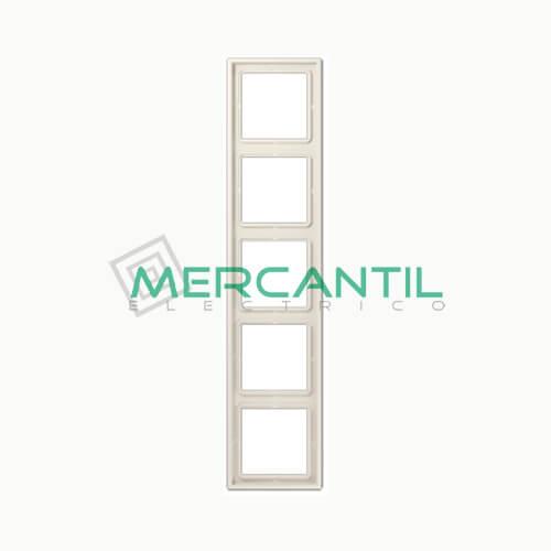 Marco Embellecedor LS990 JUNG - Color Blanco Marfil 5 Elementos Horizontal/Vertical Blanco Marfil