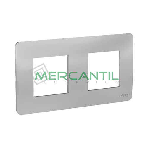 Marco Embellecedor Universal Studio New Unica SCHNEIDER ELECTRIC - Color Aluminio 2 Elementos Horizontal
