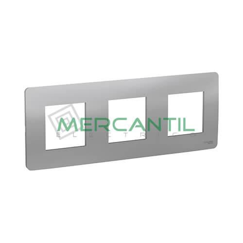 Marco Embellecedor Universal Studio New Unica SCHNEIDER ELECTRIC - Color Aluminio 3 Elementos Horizontal