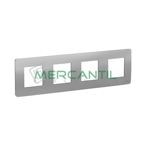 Marco Embellecedor Universal Studio New Unica SCHNEIDER ELECTRIC - Color Aluminio 4 Elementos Horizontal