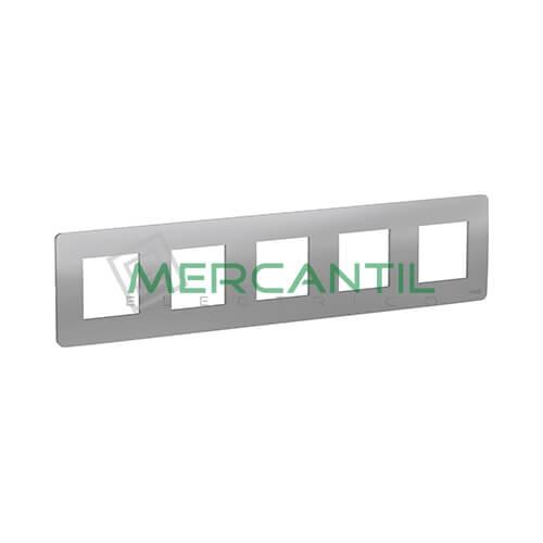 Marco Embellecedor Universal Studio New Unica SCHNEIDER ELECTRIC - Color Aluminio 5 Elementos Horizontal