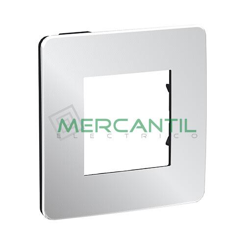 Marco Embellecedor Universal Soporte Negro Studio Metal New Unica SCHNEIDER ELECTRIC - Color Aluminio 1 Elemento Horizontal