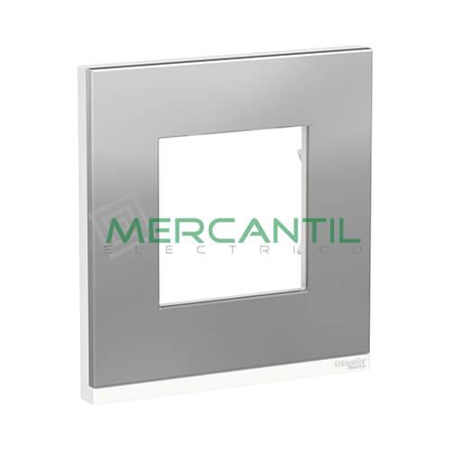Marco Embellecedor Universal Pure New Unica SCHNEIDER ELECTRIC - Color Acero 1 Elemento Horizontal