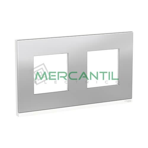 Marco Embellecedor Universal Pure New Unica SCHNEIDER ELECTRIC - Color Acero 2 Elementos Horizontal