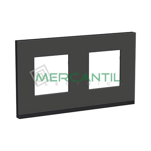 Marco Embellecedor Universal Pure New Unica SCHNEIDER ELECTRIC - Color Cristal Negro 2 Elementos Horizontal