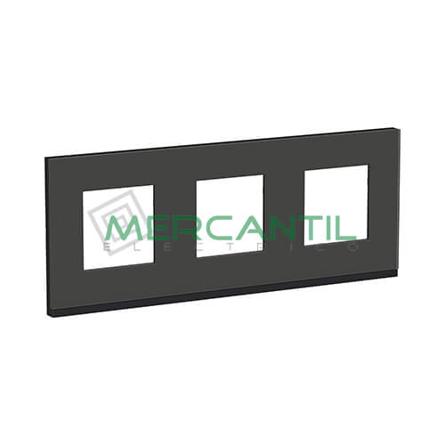 Marco Embellecedor Universal Pure New Unica SCHNEIDER ELECTRIC - Color Cristal Negro 3 Elementos Horizontal