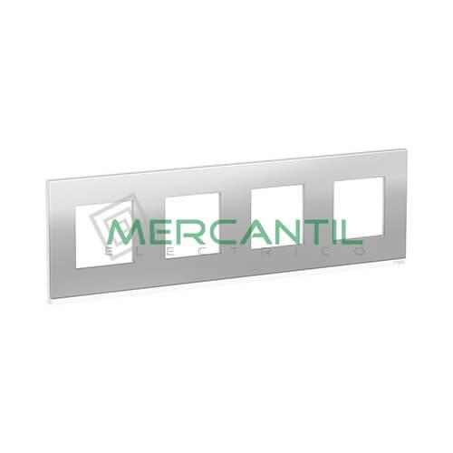 Marco Embellecedor Universal Pure New Unica SCHNEIDER ELECTRIC - Color Acero 4 Elementos Horizontal