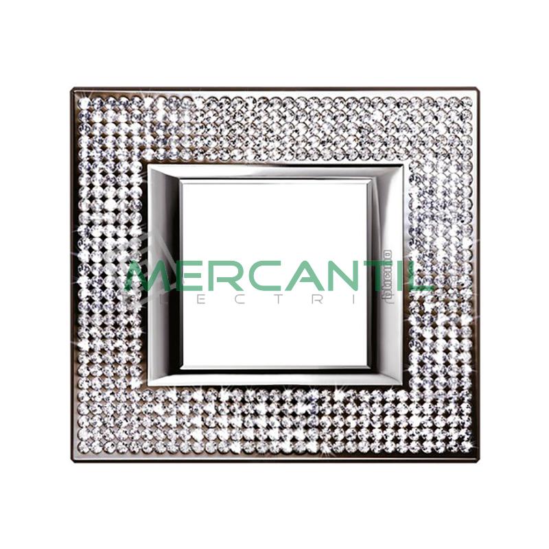 Marco Embellecedor Rectangular Axolute BTICINO - Color Swarovski Crystal 1 Elemento Horizontal Crystal Swarovski BTICINO Axolute