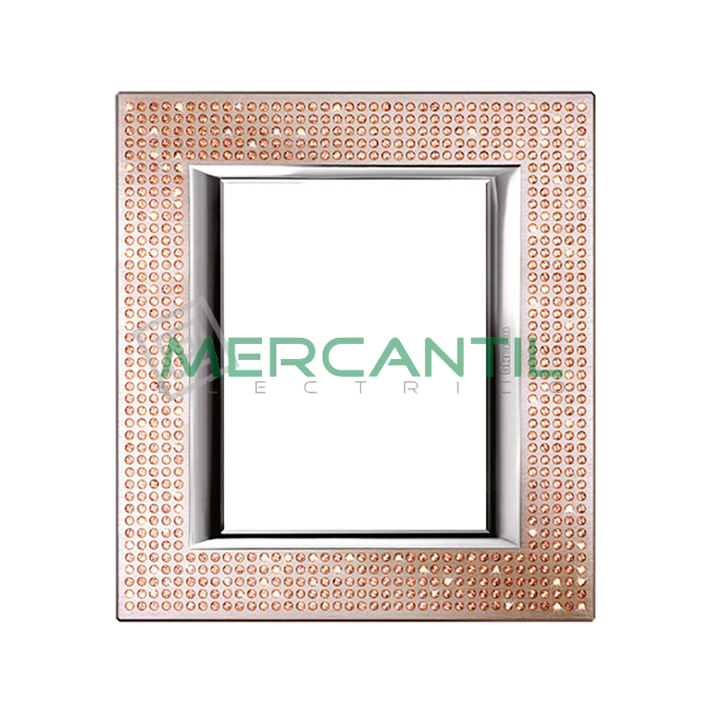 Marco Rectilineo Rectangular Axolute BTICINO - Color Swarovski Light Peach 3+3 Módulos Rectilineo Rectangular Light Peach Swarovski