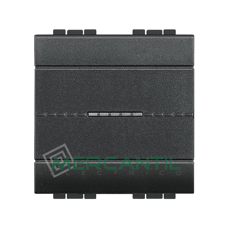 Interruptor Iluminable Axial 2 Modulos Living Light BTICINO - Embornamiento Automatico Antracita